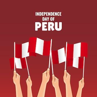 Jour de l'indépendance du pérou. mains avec des drapeaux péruviens