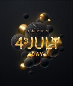 Jour de l'indépendance états-unis d'amérique. lettres d'or