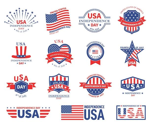 Jour de l'indépendance des états-unis. drapeau américain, les patriotes célèbrent la liberté. insignes de célébration patriotique. états unis