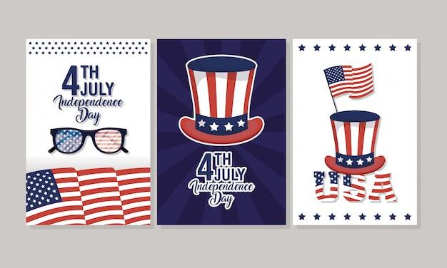 Jour de l'indépendance des états-unis avec drapeau et icônes