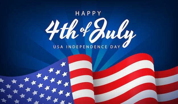 Jour de l'indépendance des états-unis avec le drapeau national sur fond bleu
