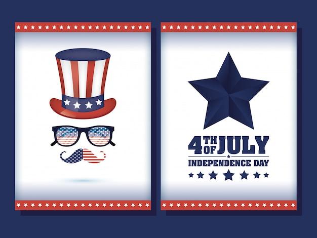 Jour de l'indépendance des états-unis avec drapeau à tophat