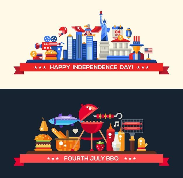 Jour de l'indépendance des états-unis moderne et barbecue serti de symboles américains célèbres