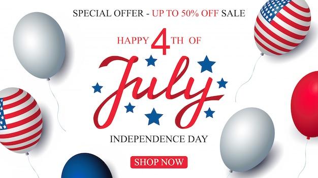 Jour de l'indépendance états-unis vente célébration bannière modèle ballons américains drapeau décor. vecteur du 4 juillet