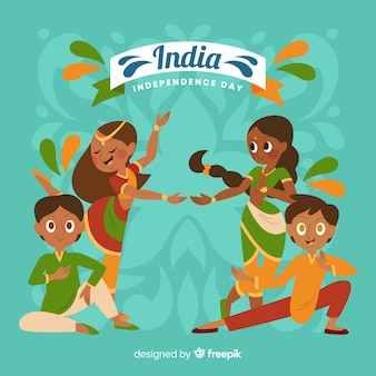 Jour de l'indépendance des personnes dessinées à la main en inde
