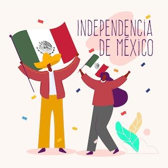 Jour de l'indépendance plat au mexique illustration