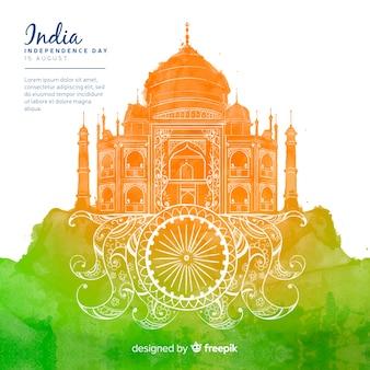 Jour de l'indépendance de style aquarelle de fond inde