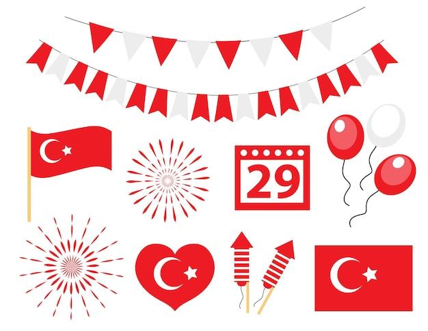 Jour de l'indépendance de la turquie, jeu d'icônes de la fête nationale turque. illustration vectorielle.