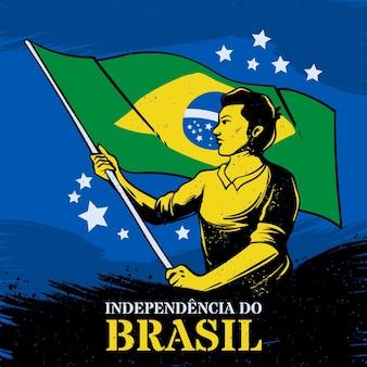 Jour de l'indépendance vintage du concept du brésil