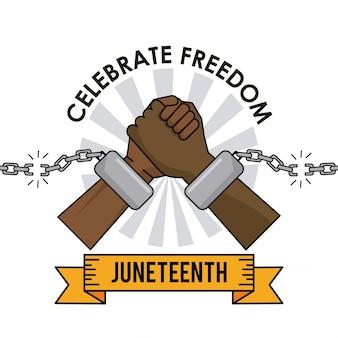 Le jour de juneteenth célébrer la liberté les mains cassées de la chaîne