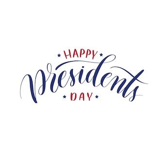 Jour de lettrage main heureux présidents jour.