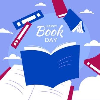 Jour de livre heureux dessiné à la main