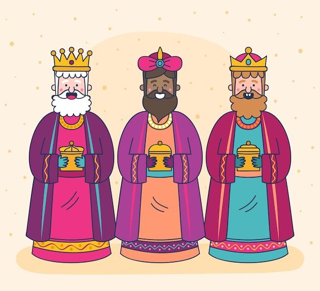 Jour de magos de reyes dessiné à la main