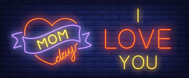 Jour de maman, je t'aime texte néon avec coeur et ruban
