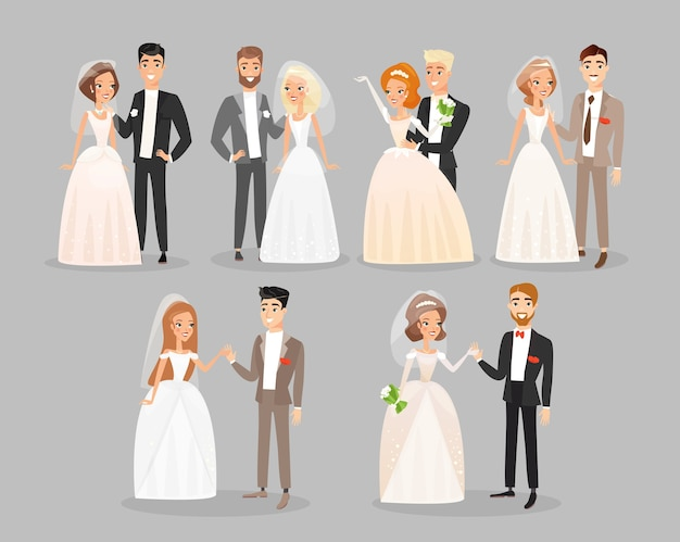 Jour de mariage mariée et le marié debout et souriant pack de personnages de dessins animés.
