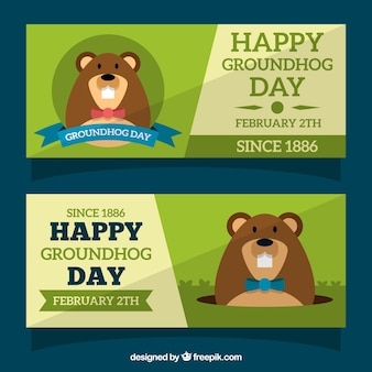 Jour de la marmotte banner set