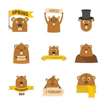Jour de la marmotte heureux logo icônes définies