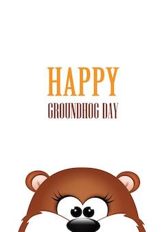 Jour de la marmotte. marmotte sur fond blanc.