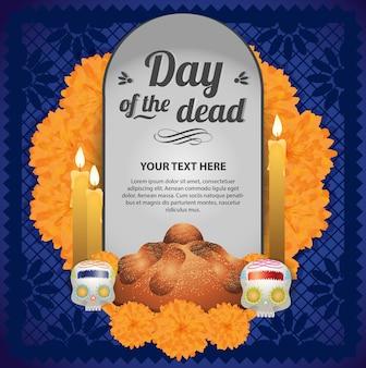 Jour mexicain de l'autel mort - modèle d'espace de copie