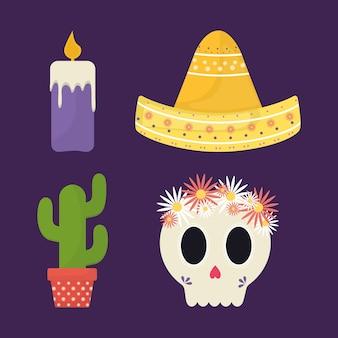 Jour mexicain de la conception de la collection d'icônes mortes, thème de la culture du mexique.