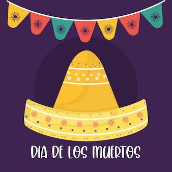 Jour mexicain du chapeau mort avec la conception de fanion de bannière, thème de la culture du mexique.