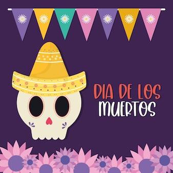 Jour mexicain du crâne mort avec un chapeau et des fleurs, thème de la culture mexicaine.