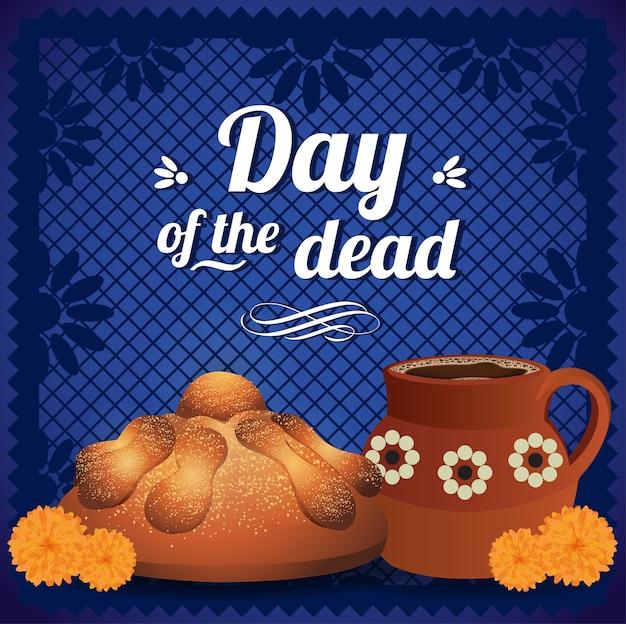 Jour mexicain du pain mort et chocolat chaud - composition de l'espace de copie