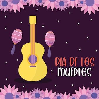 Jour mexicain de la guitare morte avec des maracas et des fleurs, thème de la culture mexicaine.