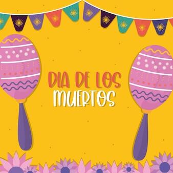 Jour mexicain des maracas morts avec la conception de fanion de bannière, thème de la culture du mexique.