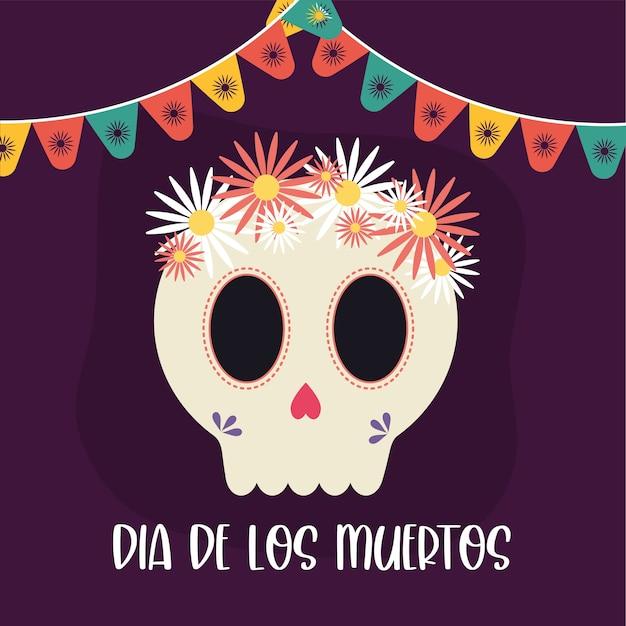 Jour mexicain de la tête de crâne mort avec des fleurs, thème de la culture du mexique.