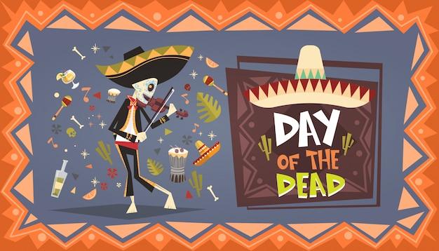 Jour de la mort mexicaine traditionnelle halloween dia de los muertos décoration de fête décoration de bannière invitation