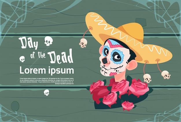 Jour de la mort traditionnelle mexicaine halloween fête décoration décoration invitation de bannière