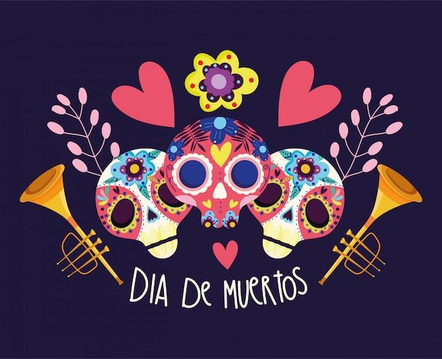 Jour des morts, catrinas fleurs trompettes coeurs décoration célébration traditionnelle mexicaine