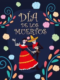 Jour des morts, célébration traditionnelle de décoration de fleurs squelette catrina