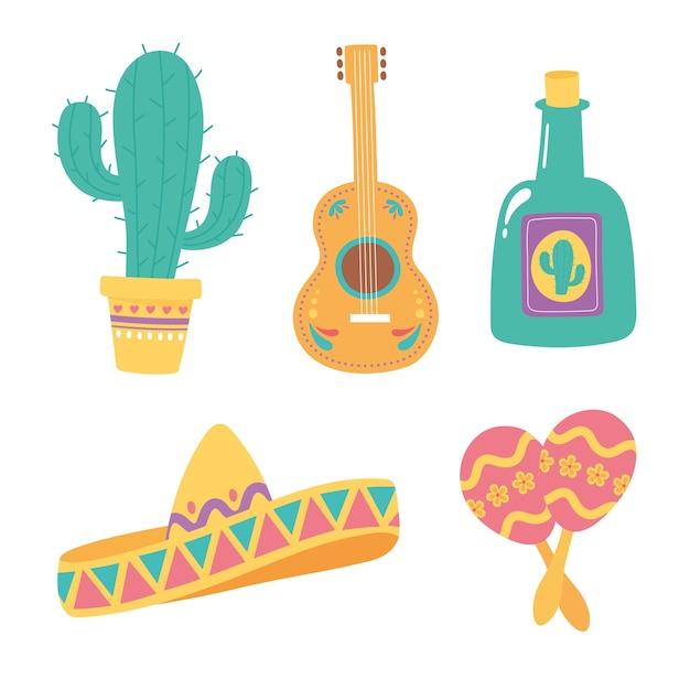 Jour des morts, chapeau tequila guitare cactus et maracas, fête mexicaine.