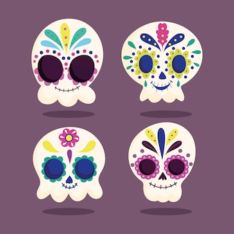 Jour des morts, crâne de catrinas fleur floral ornement célébration mexicaine traditionnelle