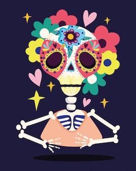 Jour des morts, crâne squelette fleurs décoration célébration traditionnelle mexicaine