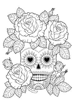 Jour des morts, crâne de sucre zentangle. livre de coloriage adulte de vecteur