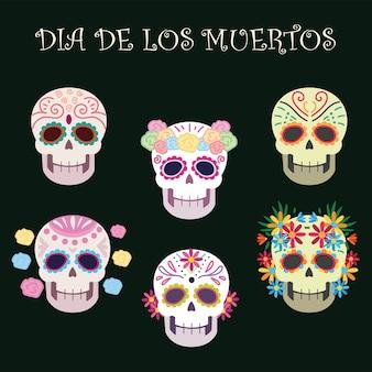 Jour des morts, crânes de sucre décoration fleurs fête mexicaine