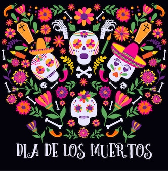 Jour des morts, dia de los moertos, bannière avec des fleurs mexicaines colorées.