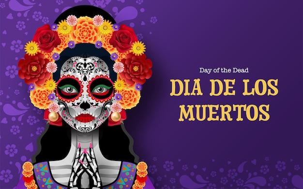 Jour des morts dia de los muertos crâne de sucre avec des fleurs de souci