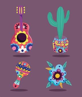 Jour des morts, fleurs cactus guitare et décoration maraca célébration traditionnelle mexicaine