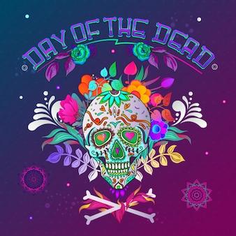 Le jour des morts. fond de crâne avec des os