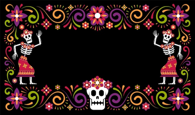 Jour des morts mexicains cadre ornemental halloween avec squelettes catrina calavera