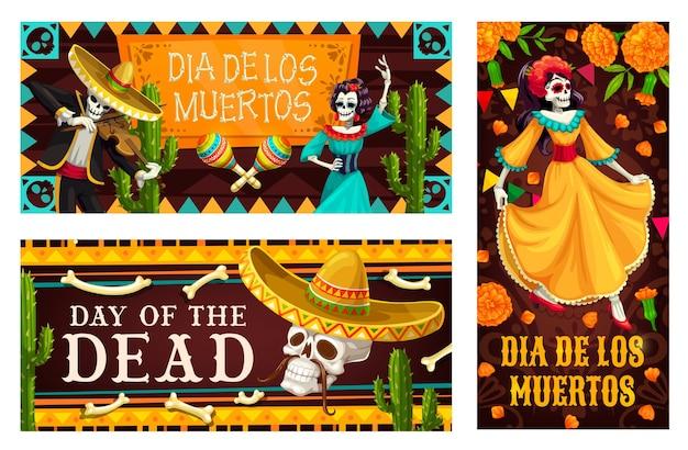 Jour des morts avec les squelettes de dia de los muertos. crânes de vacances mexicaines, chapeaux sombrero et maracas, squelettes de musicien catrina calavera et mariachi, cactus et drapeaux papel picado