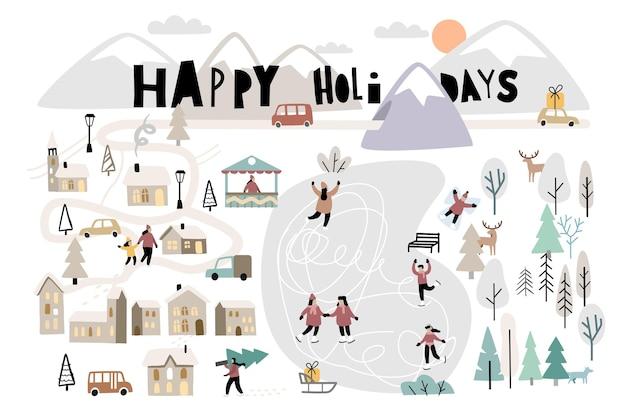 Jour de noël dans le village avec des gens. activités de plein air de paysage d'hiver de vecteur le nouvel an.