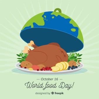 Jour de la nourriture mondiale dessiné à la main avec la dinde