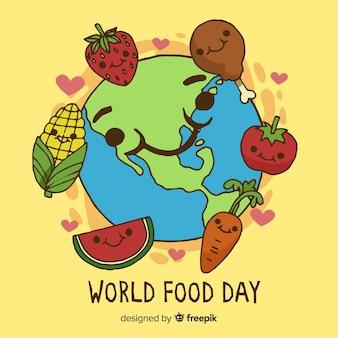 Jour de la nourriture mondiale dessiné à la main avec viande et légumes