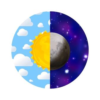Jour et nuit avec soleil, ciel, nuages, lune et étoiles en cercle isolé sur blanc