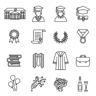 Jour de l'obtention du diplôme. universitaire & jeu d'icônes de l'éducation.